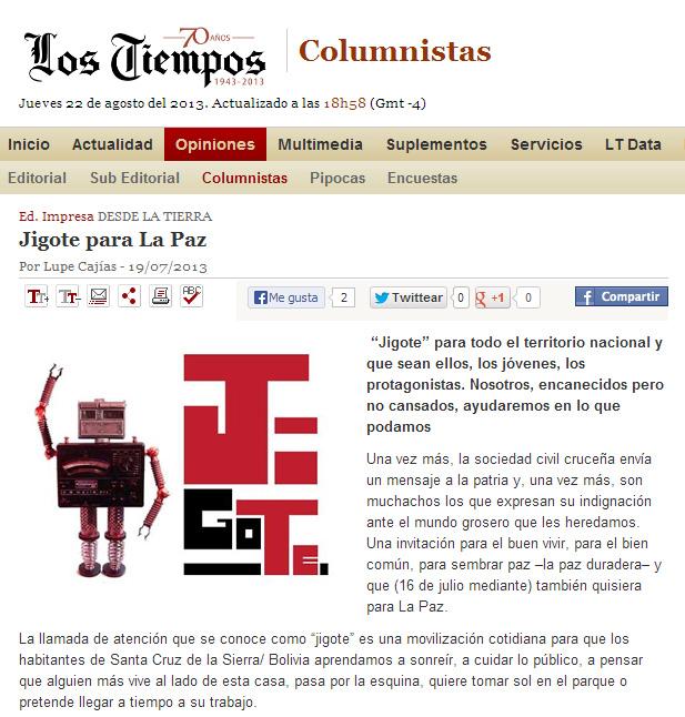 Los Tiempos, Lupe Cajía - 19072013